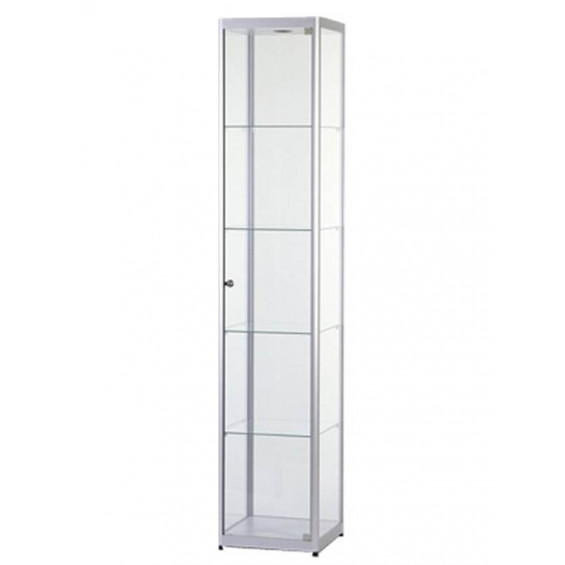 Aluminium vitrine met verlichting B40 x D40 x H200   online stop for your shop