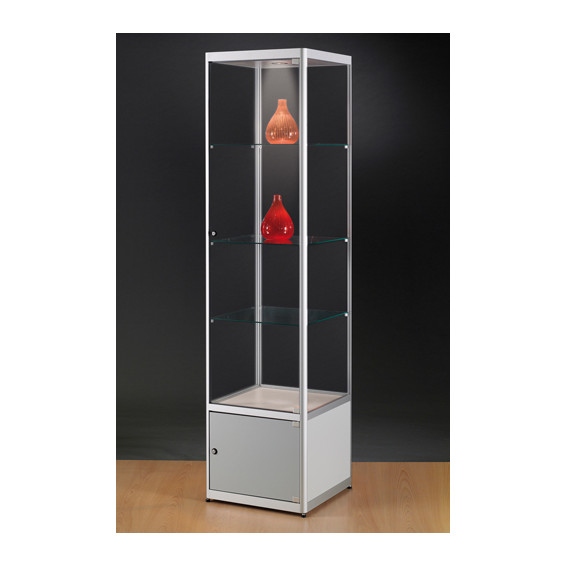 Aluminium vitrine met verlichting B50 x D50 x H200   online stop for your shop