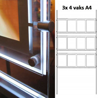 LED display raampresentatie 3x 4 vaks A4