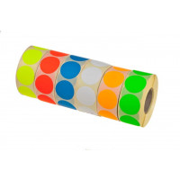 fluorsticker 25mm wit  (1000st.)