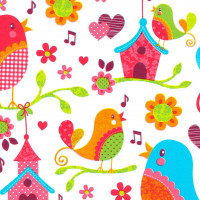 Inpakpapier Singing birds, 50 cm x 100 mtr.